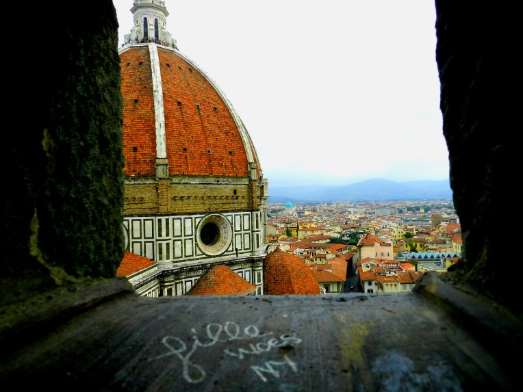 A brief respite from the dark and winding stairway climbing to the top of Il Duomo offers a peak at one of the most beautiful views in Florence.
